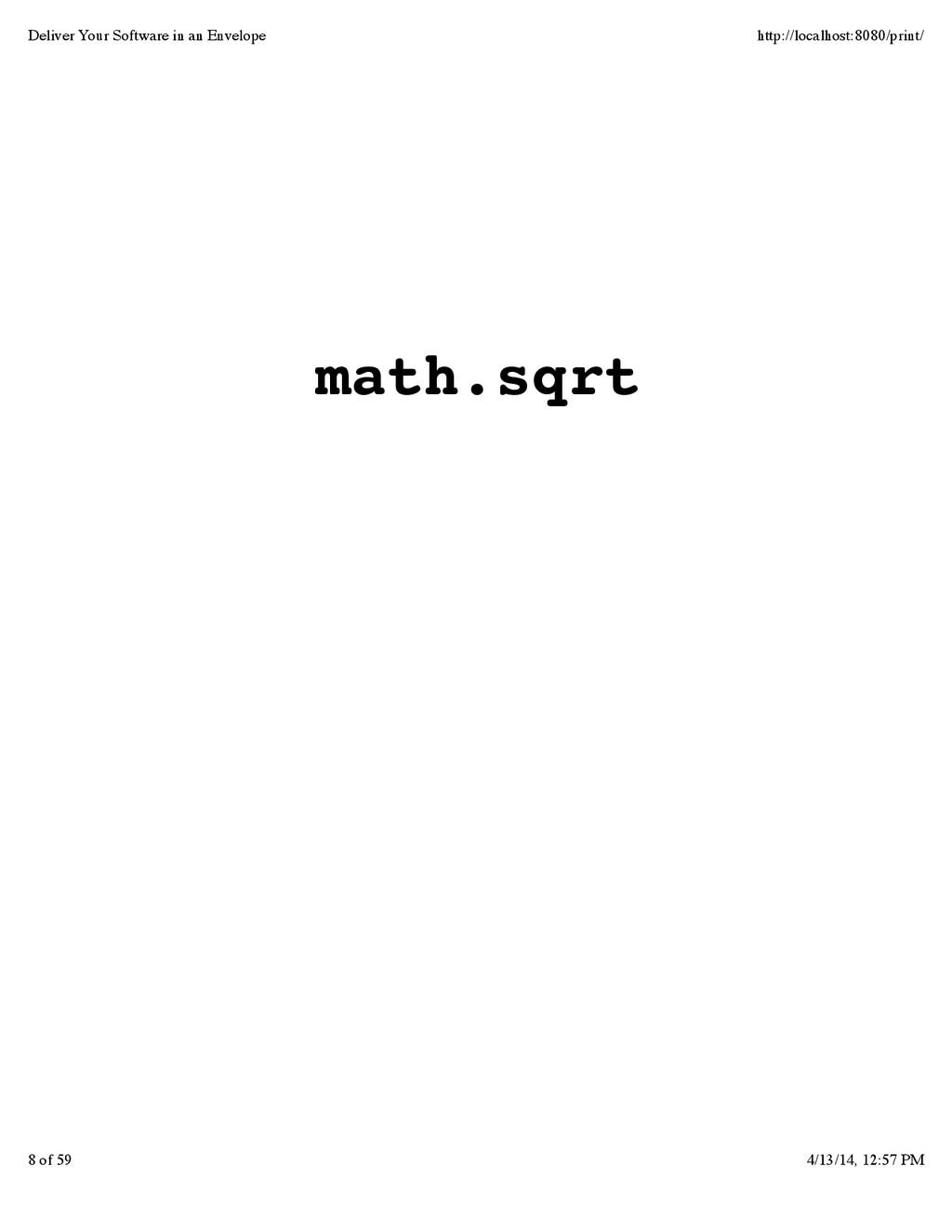 math.sqrt Deliver Your Software in an Envelope ...