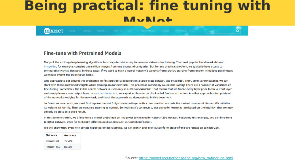 Being practical: fine tuning with MxNet Source:...