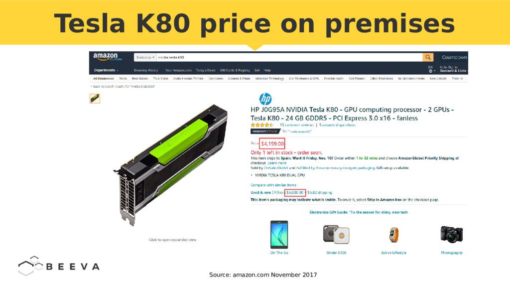 Tesla K80 price on premises Source: amazon.com ...