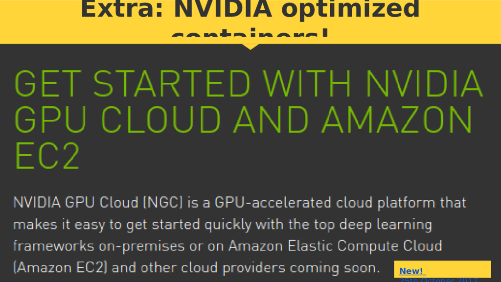 Extra: NVIDIA optimized containers! New!