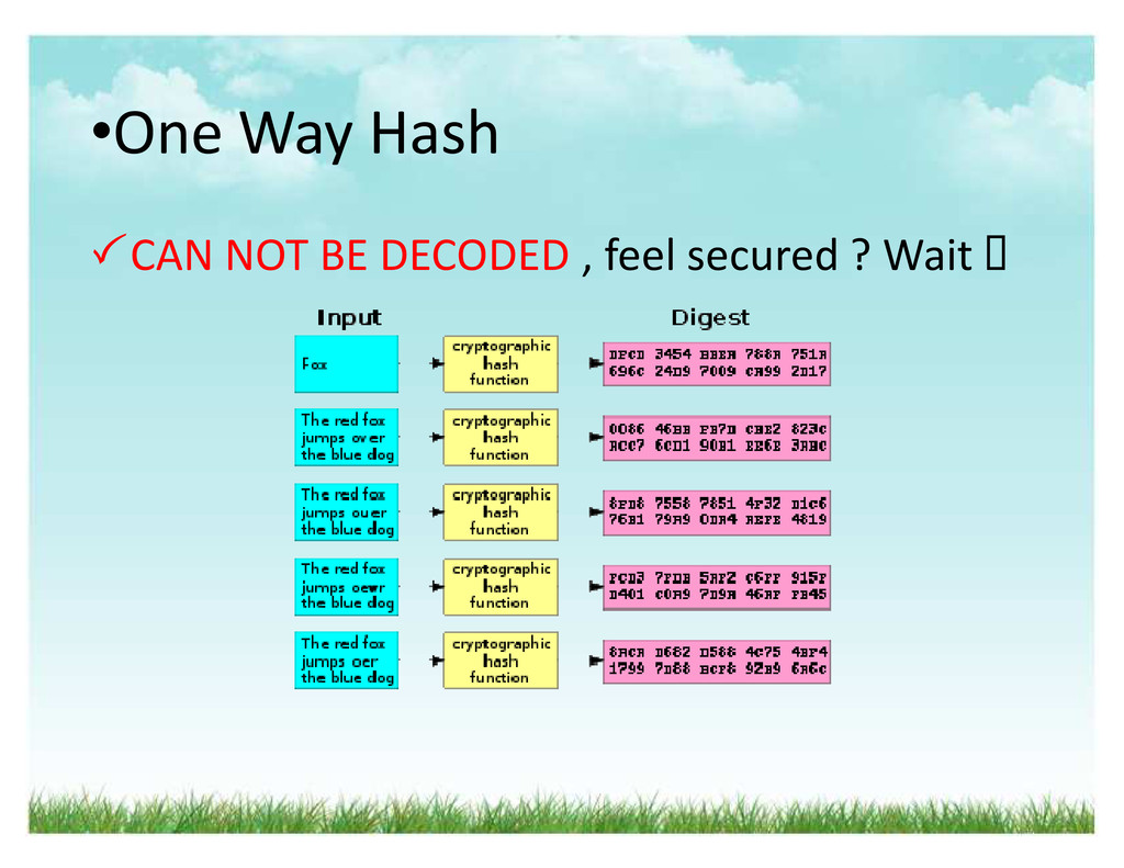 ‡One Way Hash CAN NOT BE DECODED , feel secure...