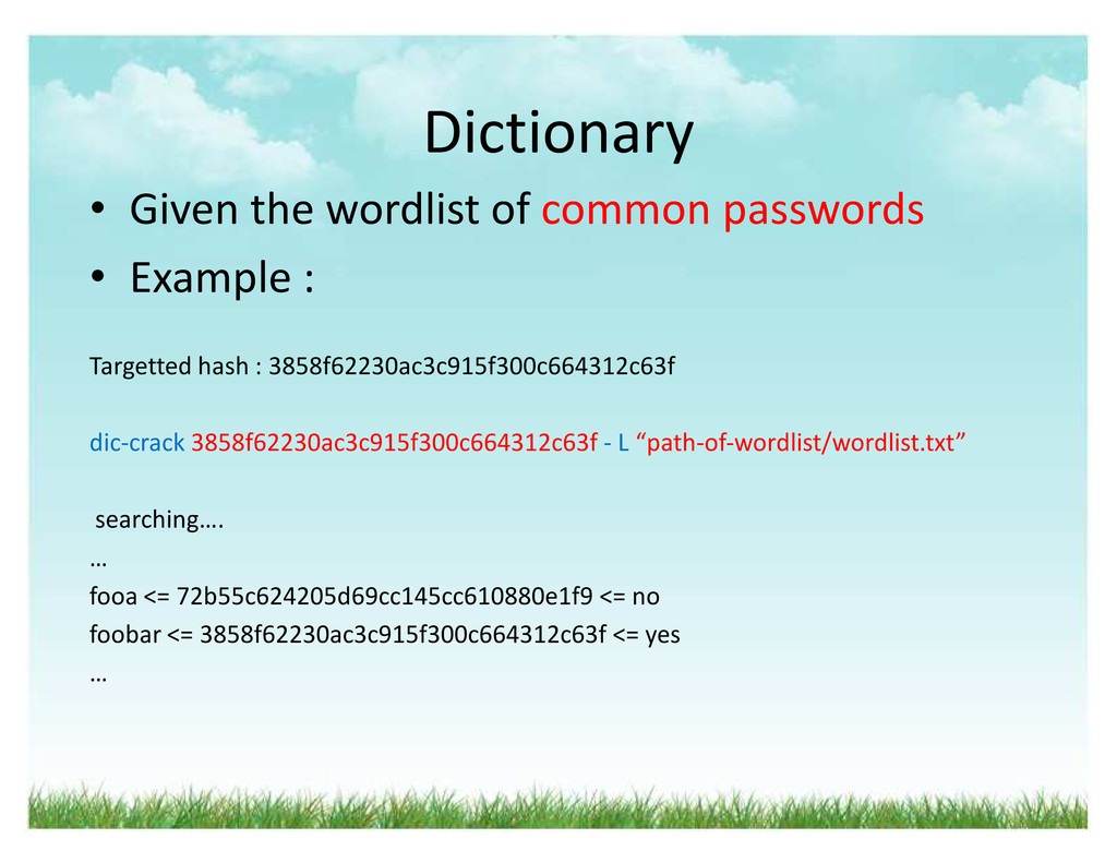 Dictionary ‡ Given the wordlist of common passw...