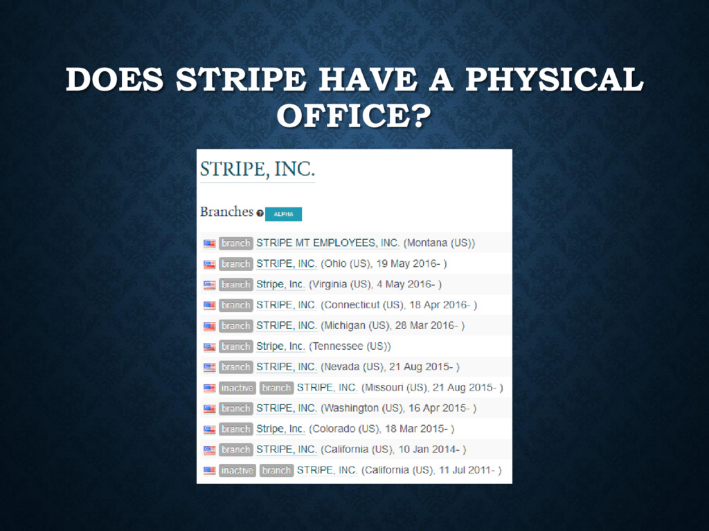 DOES STRIPE HAVE A PHYSICAL OFFICE?