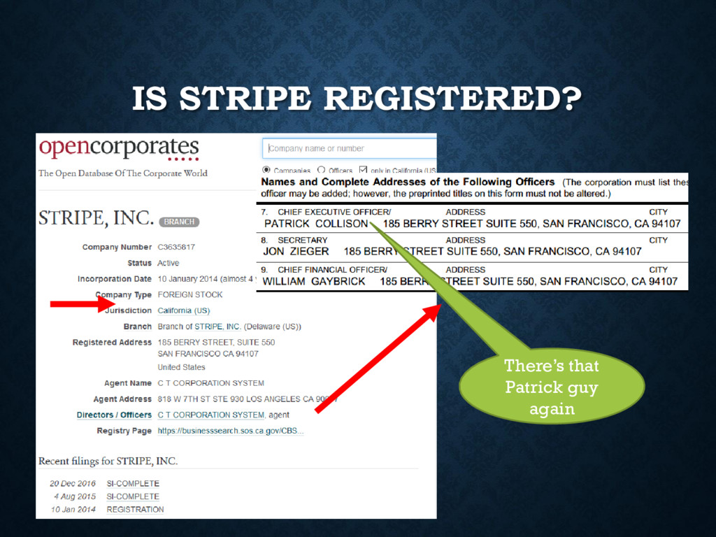 IS STRIPE REGISTERED? There's that Patrick guy ...