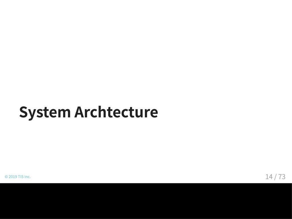 System Archtecture © 2019 TIS Inc. 14 / 73