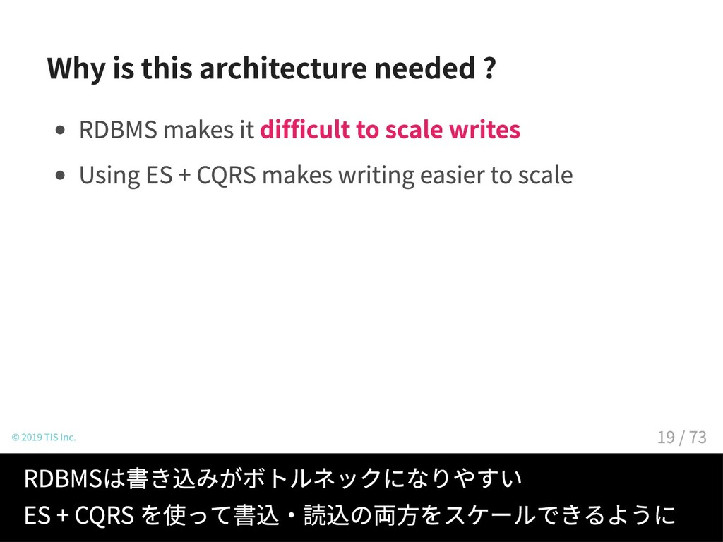 Why is this architecture needed ? RDBMS makes i...