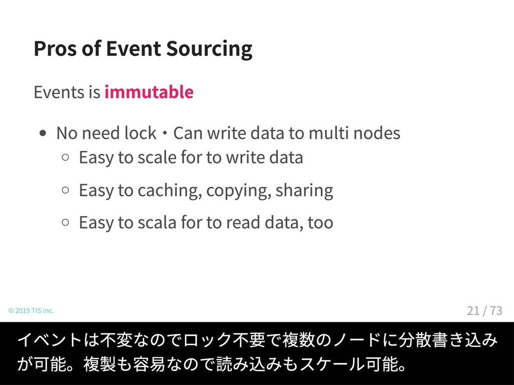 Pros of Event Sourcing Events is immutable No n...