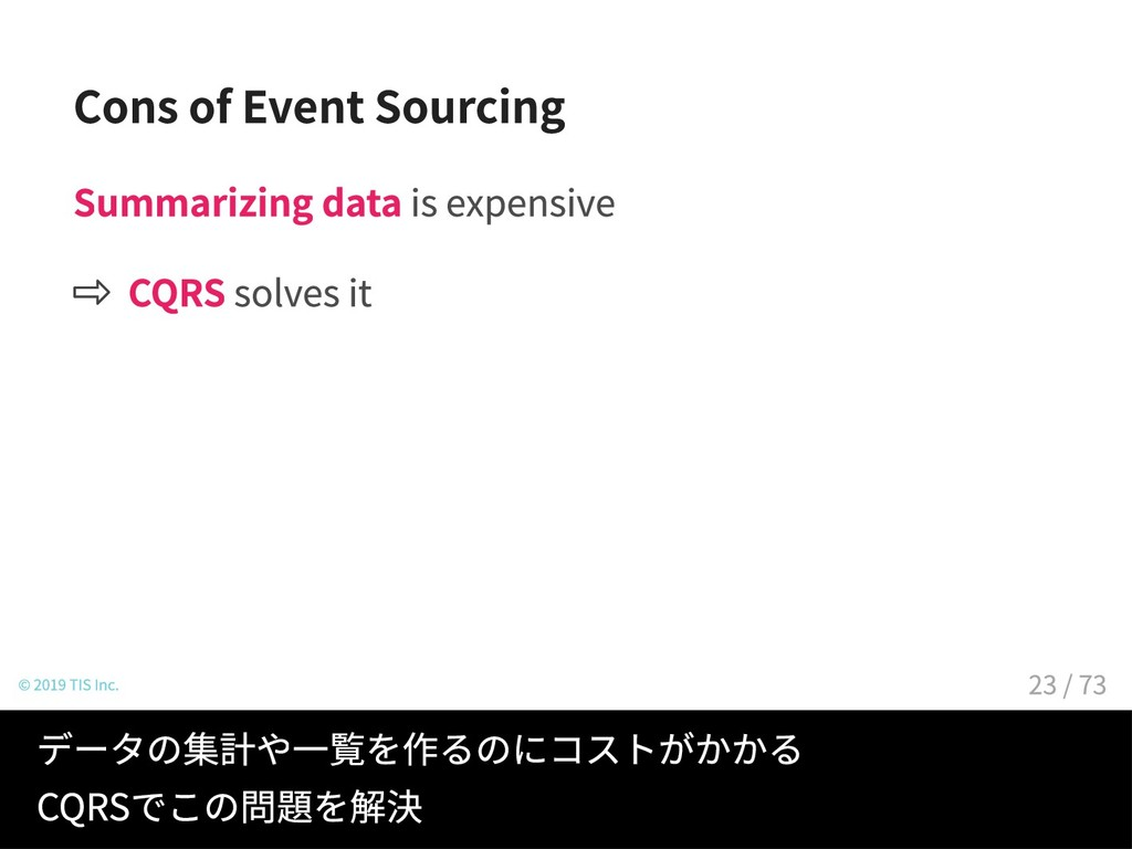 Cons of Event Sourcing Summarizing data is expe...