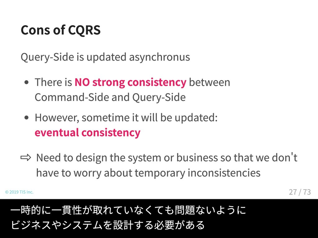 Cons of CQRS Query-Side is updated asynchronus ...