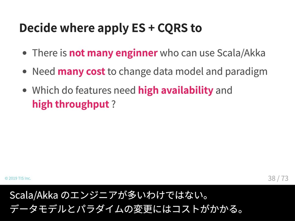 Decide where apply ES + CQRS to There is not ma...