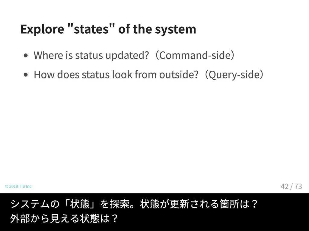 Explore states of the system Where is status up...