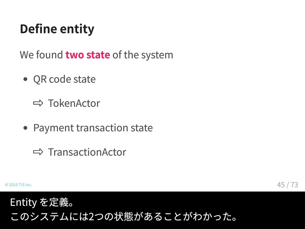 Define entity We found two state of the system ...