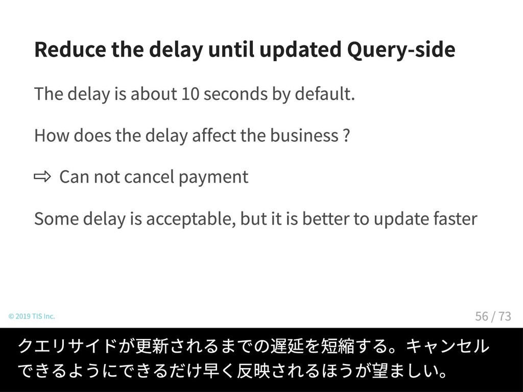 Reduce the delay until updated Query-side The d...