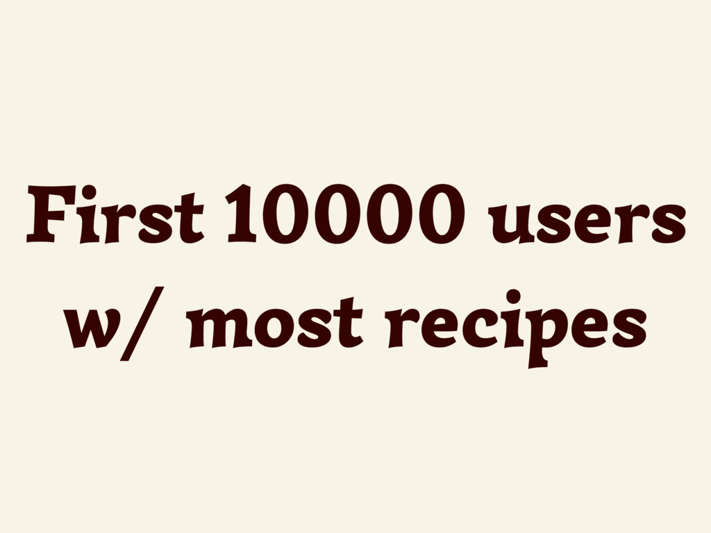 First 10000 users w/ most recipes