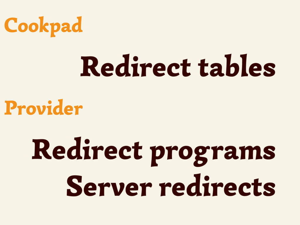 Redirect tables Cookpad Redirect programs Serve...