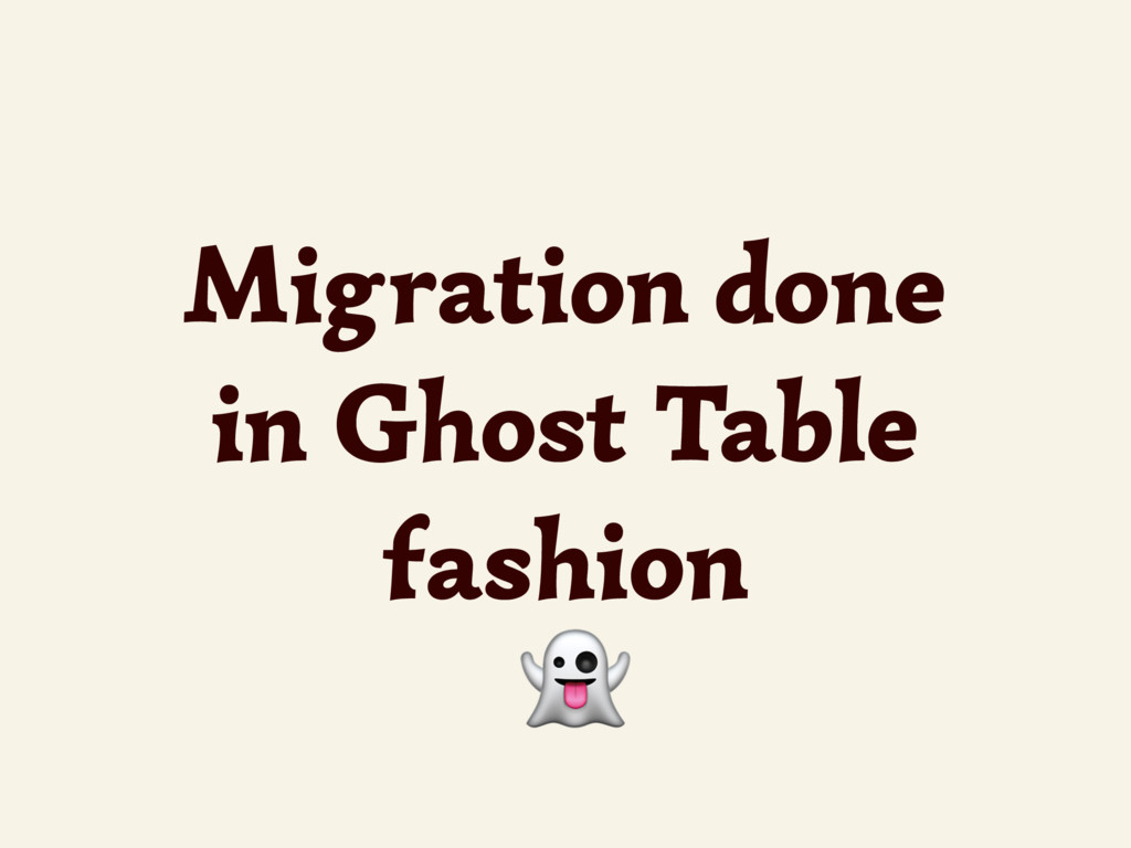 Migration done in Ghost Table fashion