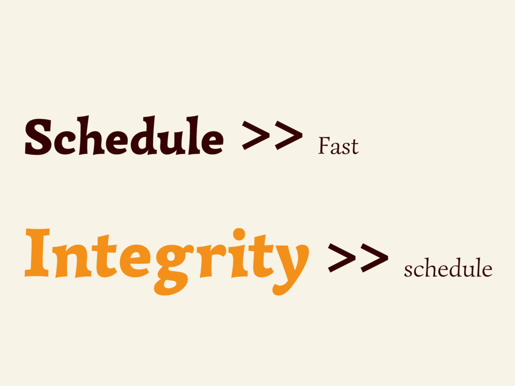 Schedule >> Fast Integrity >> schedule