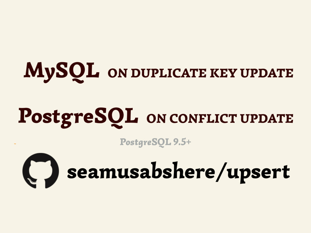 ~ MySQL ON DUPLICATE KEY UPDATE PostgreSQL ON C...