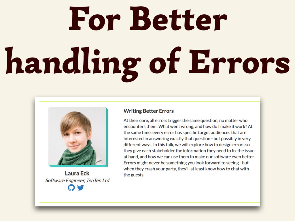 For Better handling of Errors