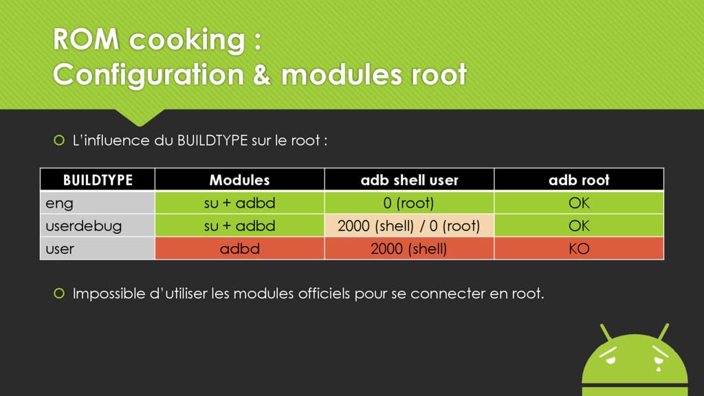  L'influence du BUILDTYPE sur le root :  Impo...