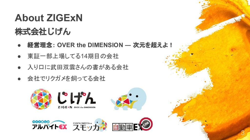About ZIGExN 株式会社じげん ● 経営理念: OVER the DIMENSION...