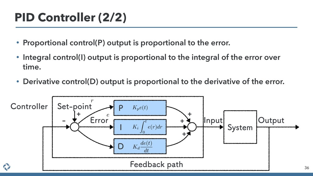 • Proportional control(P) output is proportiona...