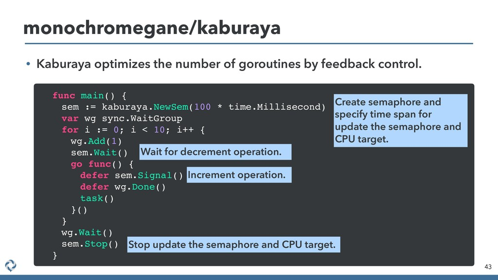 • Kaburaya optimizes the number of goroutines b...