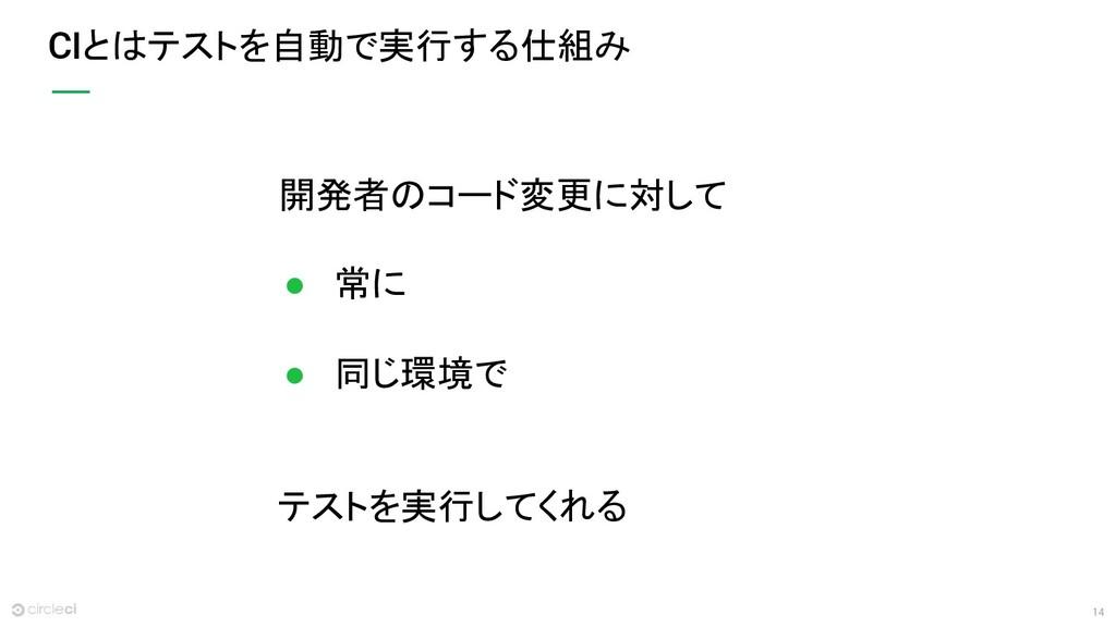 14 CIとはテストを自動で実行する仕組み 開発者のコード変更に対して ● 常に ● 同じ環境...