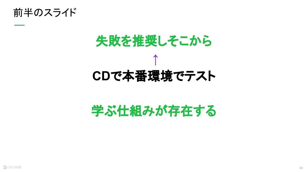 64 前半のスライド 失敗を推奨しそこから ↑ CDで本番環境でテスト 学ぶ仕組みが存在する