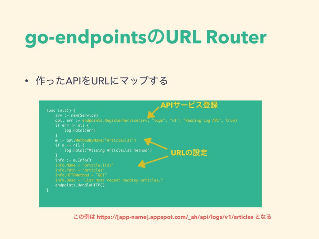 go-endpointsͷURL Router • ࡞ͬͨAPIΛURLʹϚοϓ͢Δ func...