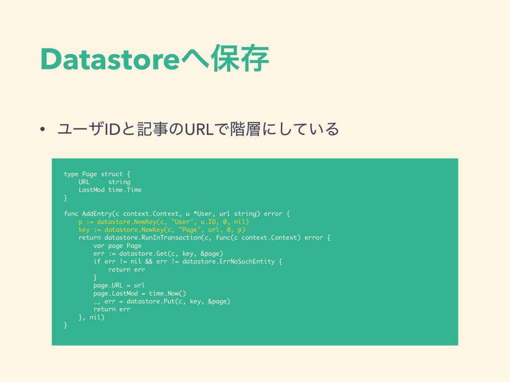 Datastoreอଘ • ϢʔβIDͱهͷURLͰ֊ʹ͍ͯ͠Δ type Page s...