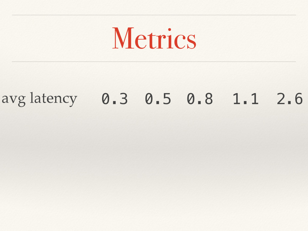Metrics avg latency 0.3 0.5 0.8 1.1 2.6