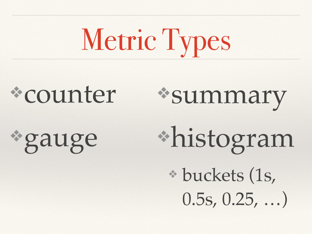 Metric Types ❖counter ❖gauge ❖summary ❖histogra...