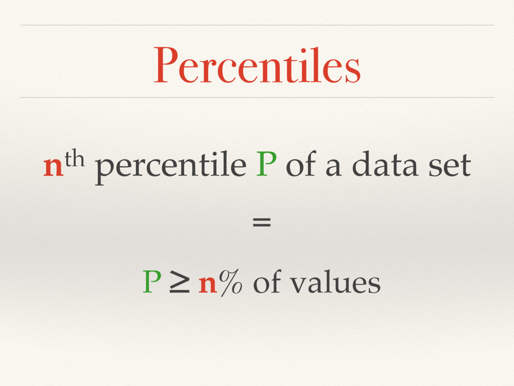 Percentiles nth percentile P of a data set = P ...