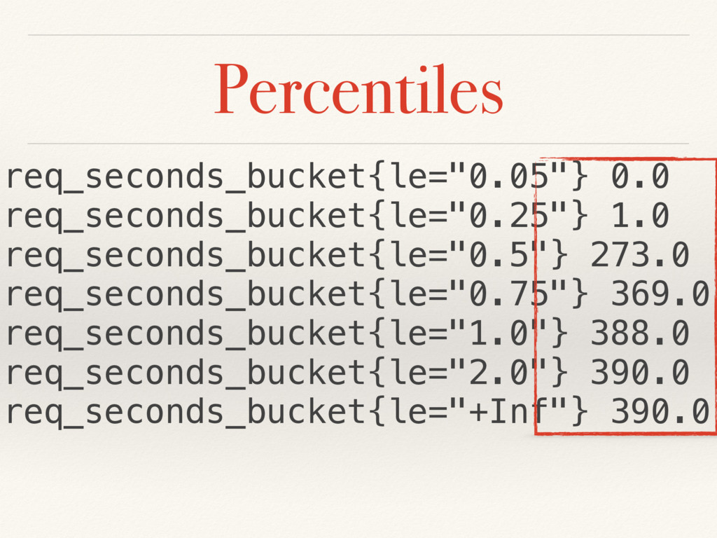 "Percentiles req_seconds_bucket{le=""0.05""} 0.0 r..."