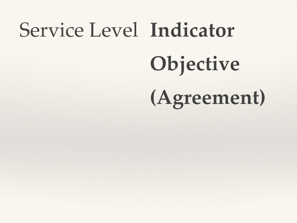 Service Level Indicator Objective (Agreement)