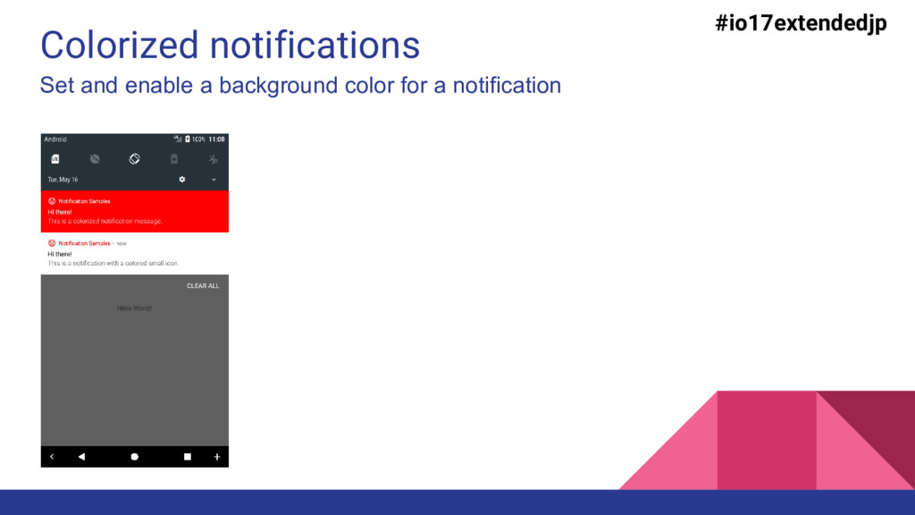 Colorized notifications Set and enable a backgr...