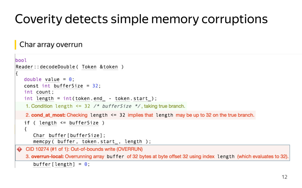 Coverity detects simple memory corruptions 12 C...