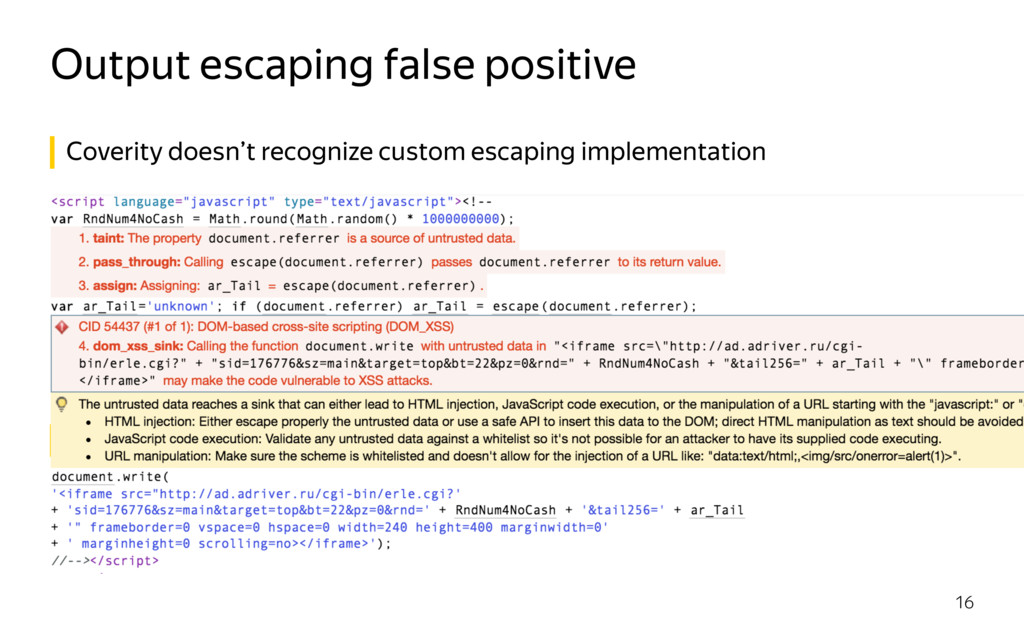 Output escaping false positive 16 Coverity does...