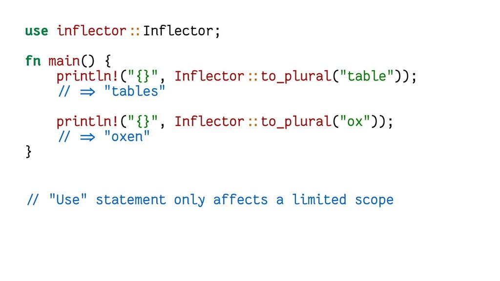 use inflector::Inflector; fn main() { println!(...