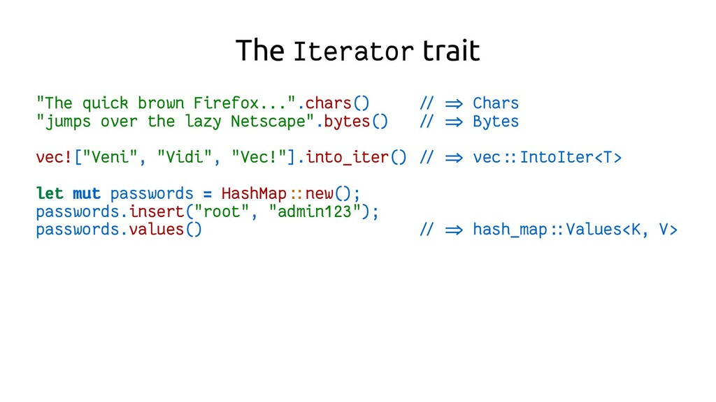 """The Iterator trait """"The quick brown Firefox...""""..."""