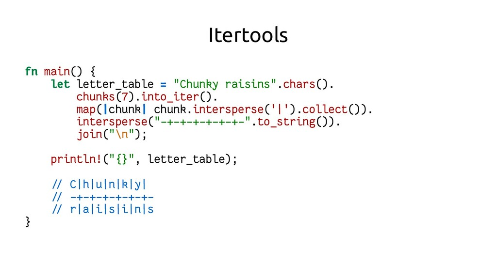 """Itertools fn main() { let letter_table = """"Chunk..."""