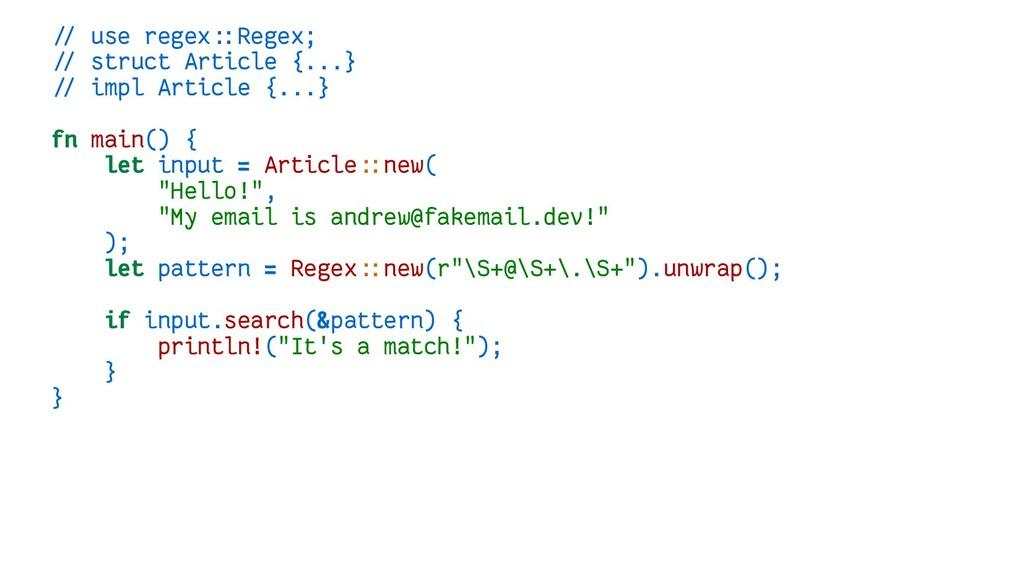 // use regex::Regex; // struct Article {...} //...