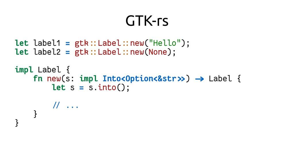 """GTK-rs let label1 = gtk::Label::new(""""Hello""""); l..."""