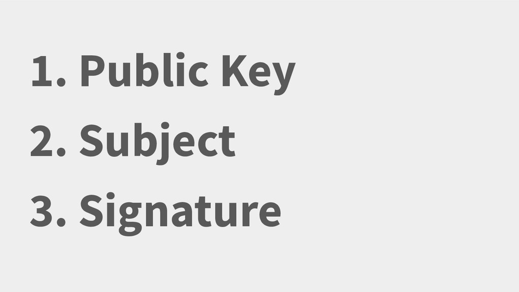 1. Public Key 2. Subject 3. Signature There's n...