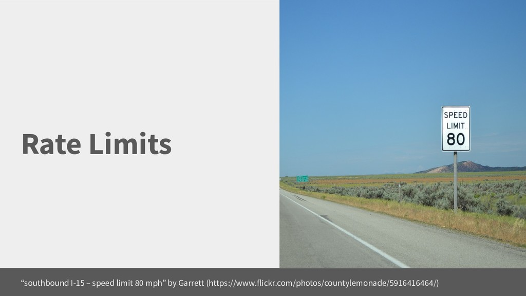 """Rate Limits """"southbound I-15 – speed limit 80 m..."""