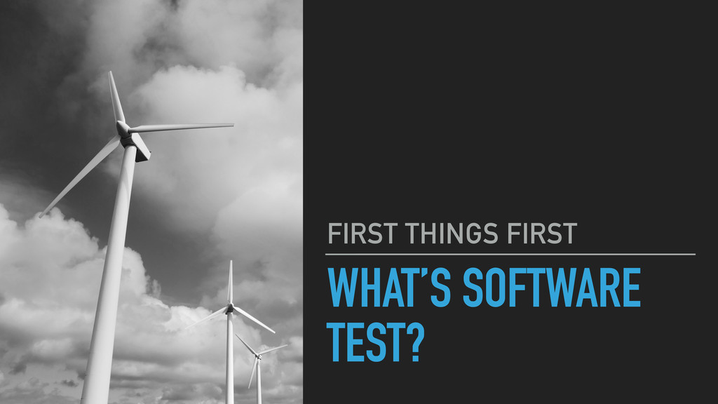 WHAT'S SOFTWARE TEST? FIRST THINGS FIRST