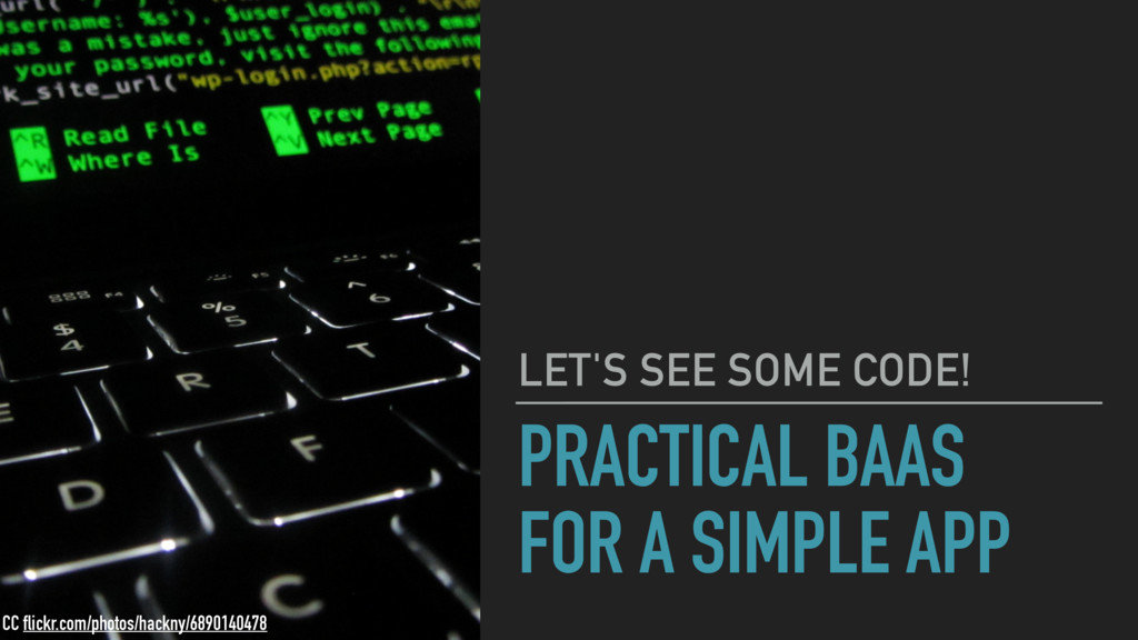 PRACTICAL BAAS FOR A SIMPLE APP LET'S SEE SOME ...