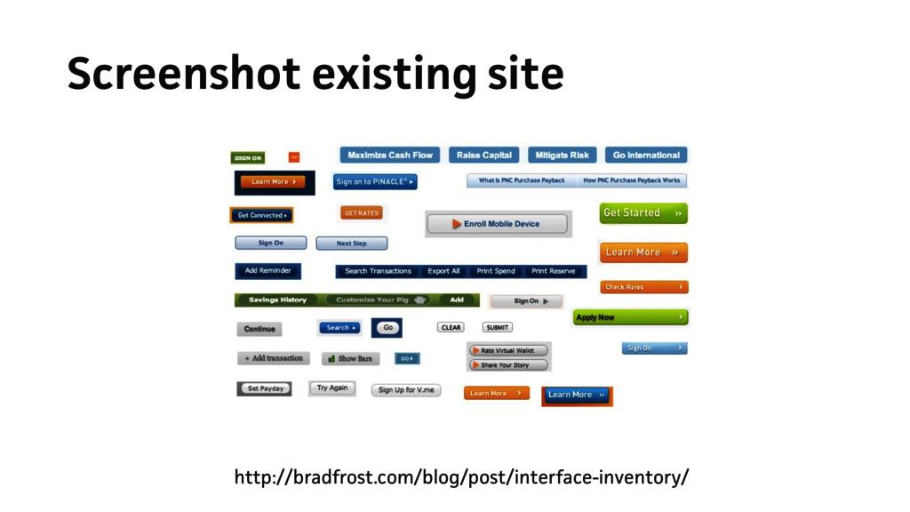 Screenshot existing site http://bradfrost.com/b...