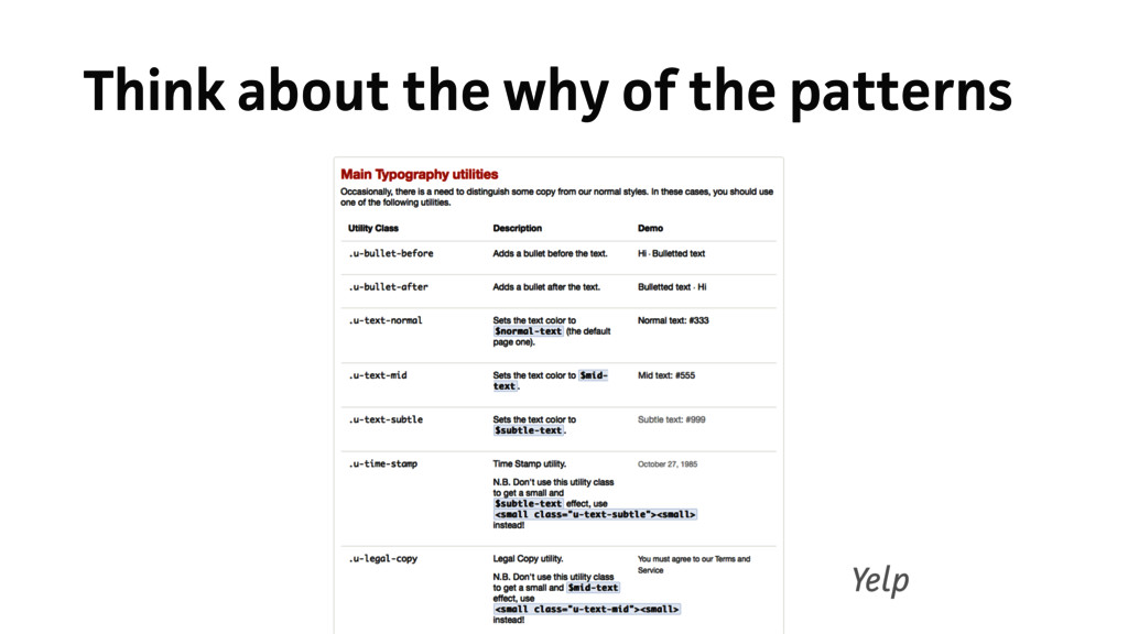 Think about the why of the patterns Yelp